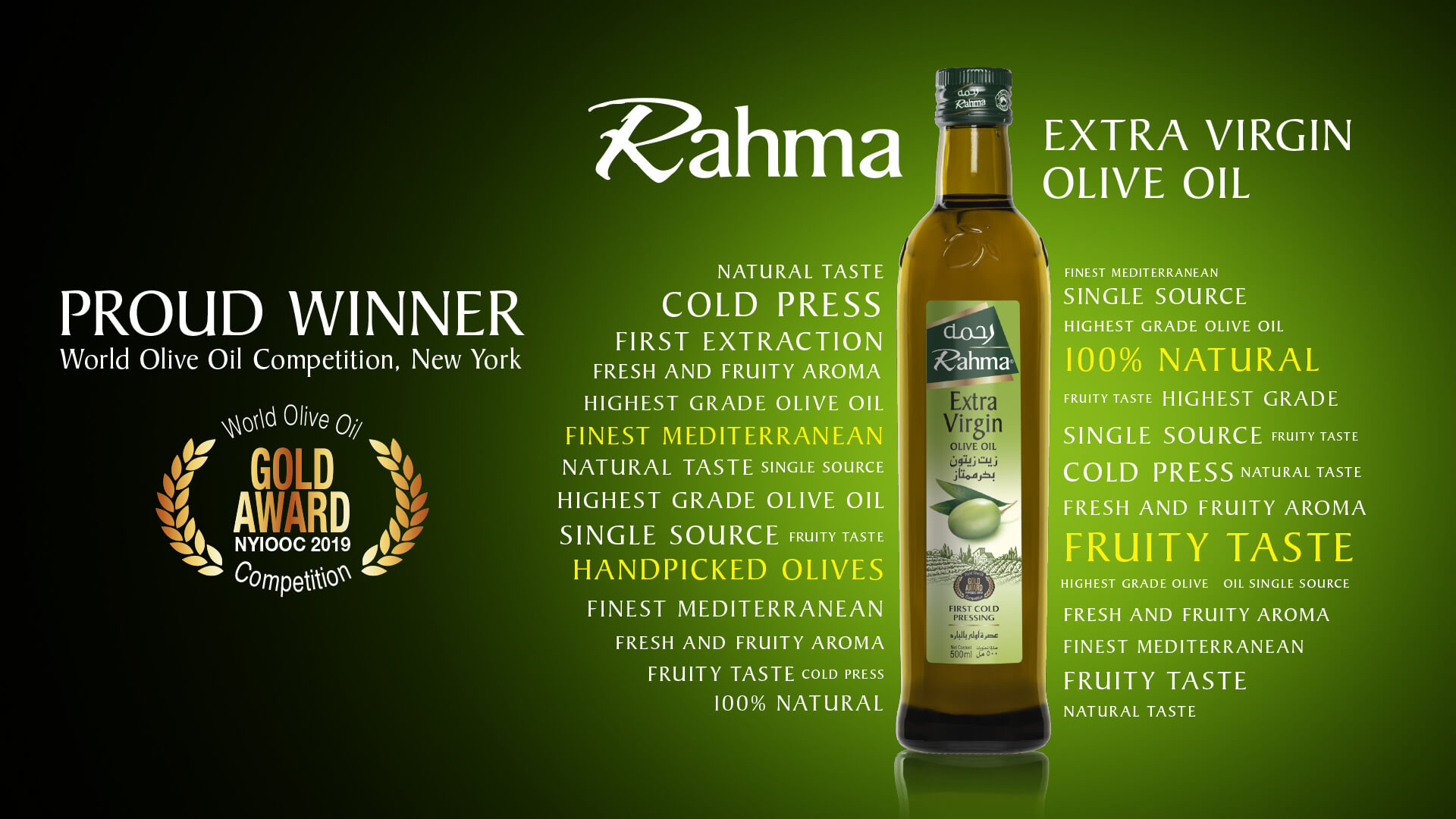 Rahma Extra Virgin Olive Oil wins Gold award at the most prestigious olive oil competition