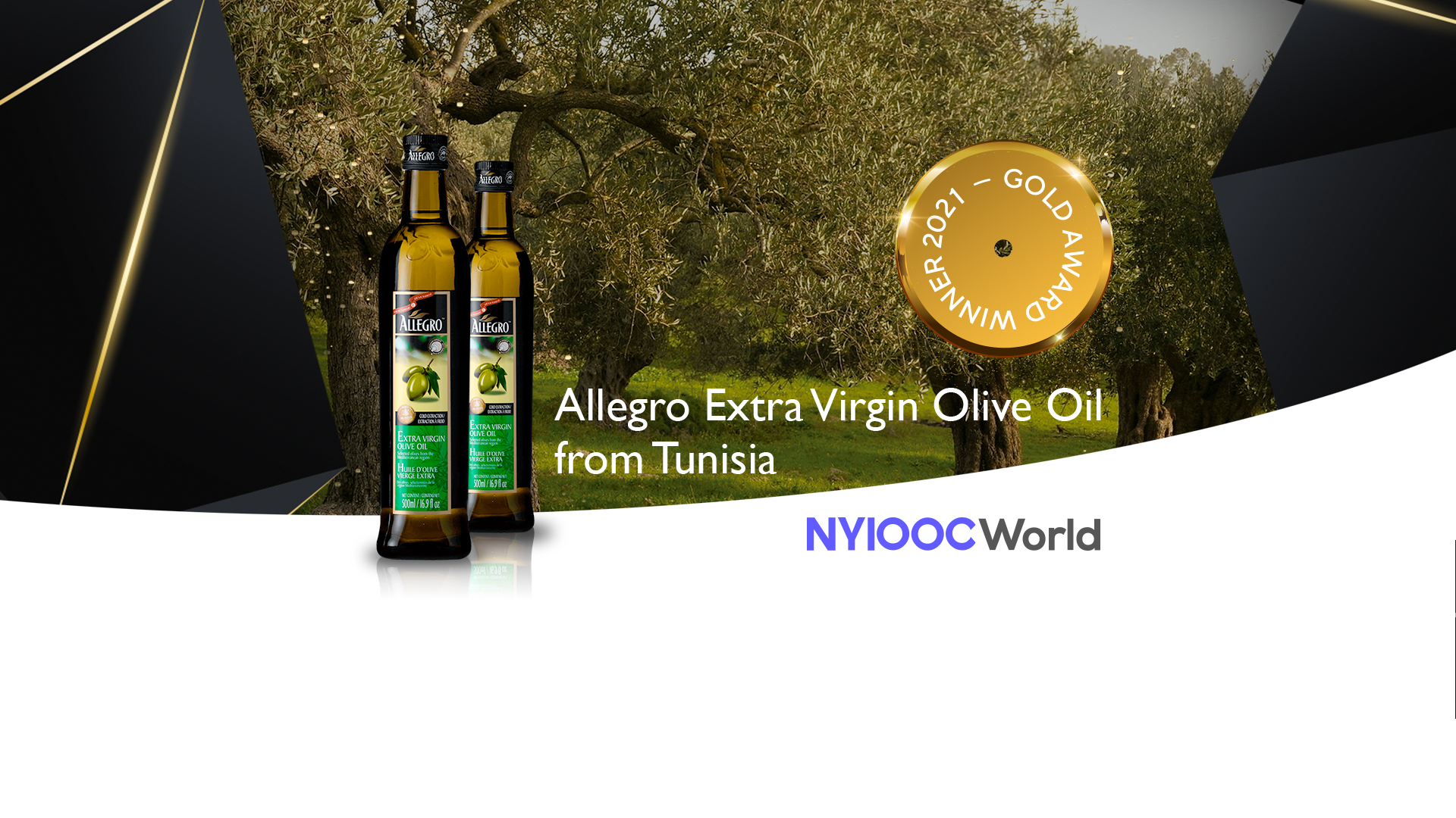 Allegro extra virgin olive oil awarded with the gold medal in NYIOOC